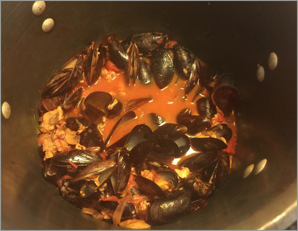 Cook for 3 minutes - until the mussels open