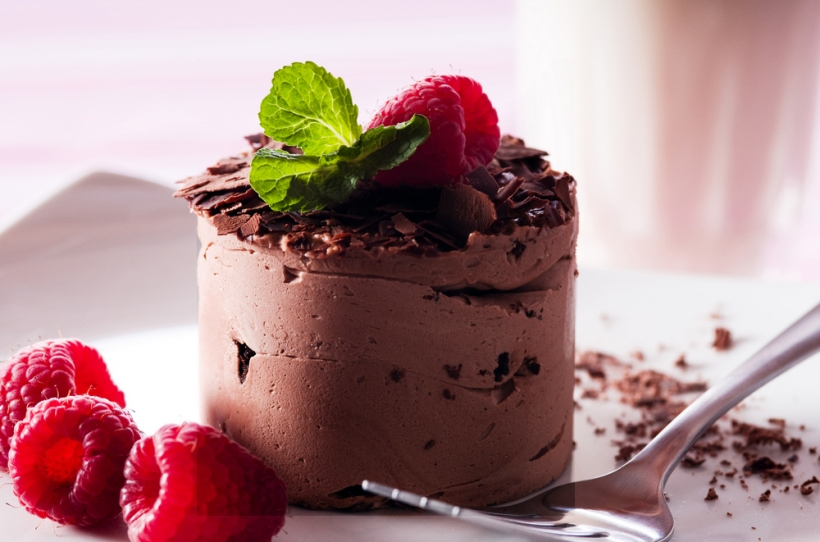 My Favorite dessert ~ Avocado-Chocolate Mousse with Raspberries.